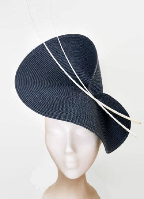Navy blue fascinator navy blue wedding hat blue and white  6c4599a1f63