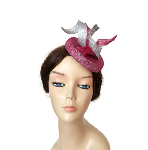 Pink and silver fascinator pink wedding hats silver races  0c4ac654cc1