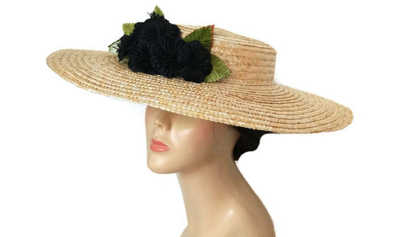 06eadfbf5f2a8 Straw hat with black flowers Big black straw hat black sun