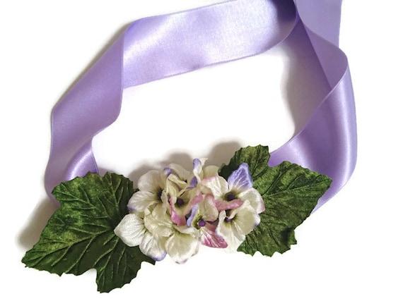 super popolare 6a975 528d1 Cintura fiori viola cintura con fiori di stoffa fiori   Etsy