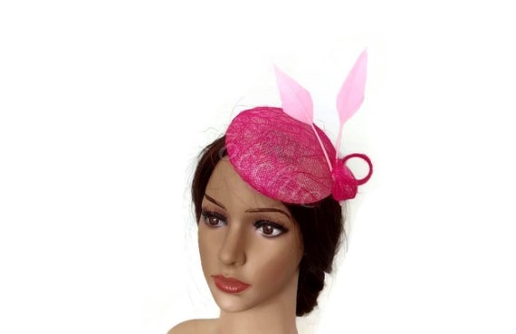 Pink small wedding hat Fuchsia pink fascinator Pink Ascot  24387c3a6bd