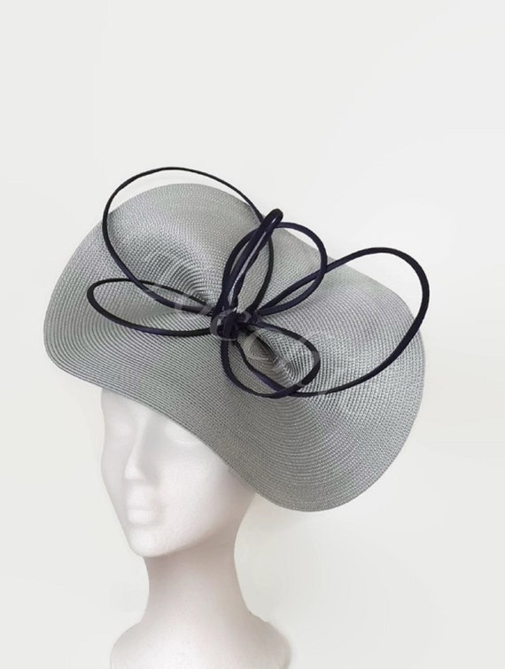 5423038450d Grey and navy blue womens derby hat Royal Ascot hat grey Bow
