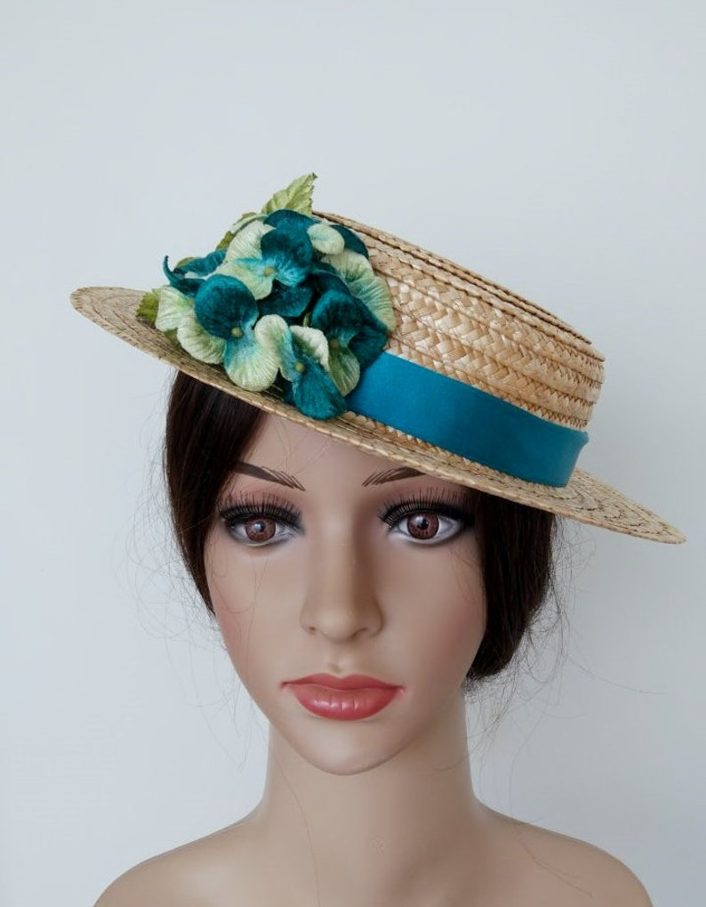 Boater hat with turquoise flower Turquoise Ascot HatFloral  27ec5946326