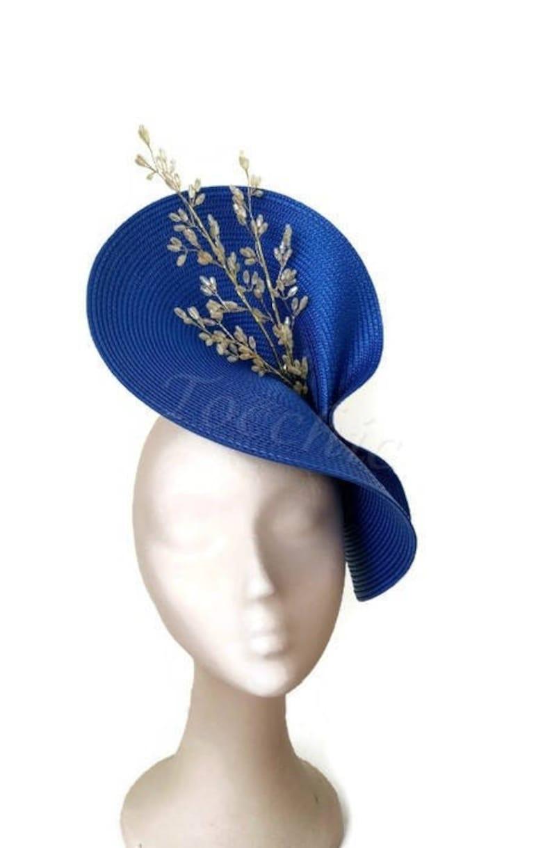 46e8a89cc0bc8 Royal blue fascinator Kentucky derby hat Royal blue Ascot | Etsy
