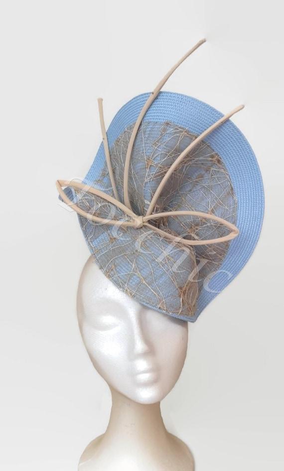 Light Blue Pillbox Hat Powder Blue Cocktail Hat Pastel Blue Ladies Day Racing Style Derby Hat Pale Blue Wedding Fascinator Ascot Hat