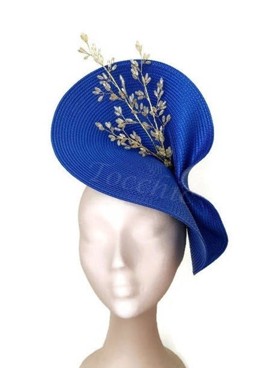 Royal blue fascinator Kentucky derby hat Royal blue Ascot  e0eac2153a4