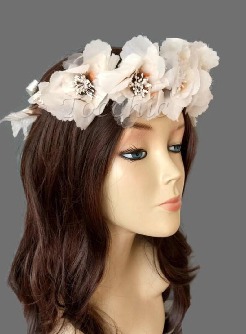 Cream flower crown Rustic wedding hair accessories Bridal  04feecde61c