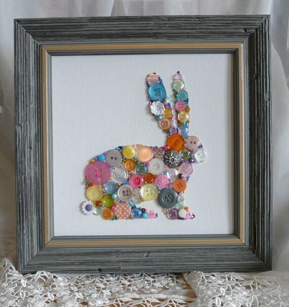 Ostern Hase Kaninchen Knopf & Perle Wandkunst 8 x 8 Knöpfe