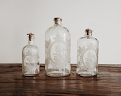 Vintage 60s Apothecary Bottles, Etched French Glass, Graduated Pair of 3