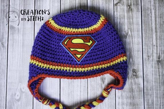 Superman Superhero Crochet Hat Etsy