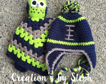 Seahawks Football Hat and Owl Lovey
