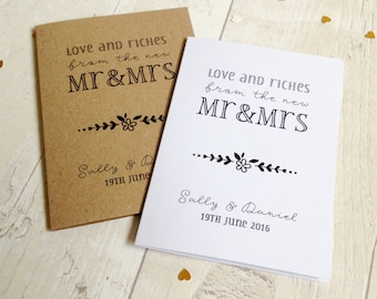 10 x personalised lottery ticket or scratch card holder wedding favour cards