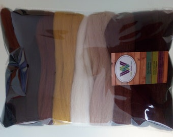 Brown set* Pure Wool Tops Dry /& Wet Felting 6 Shades Natural White Brown 60 g