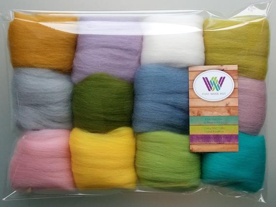 Set D* Pure Merino Wool Tops for Felting packs of 12 colours 60 g
