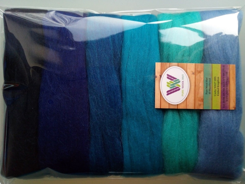 MERINO WOOL BLUE SHADES dyed wool tops roving needle felting  60g