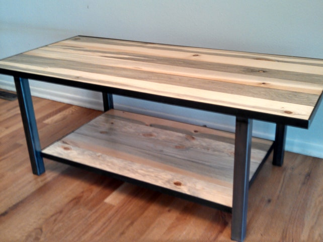 Metal Framed Industrial Style Coffee Table With Shelf Hand | Etsy
