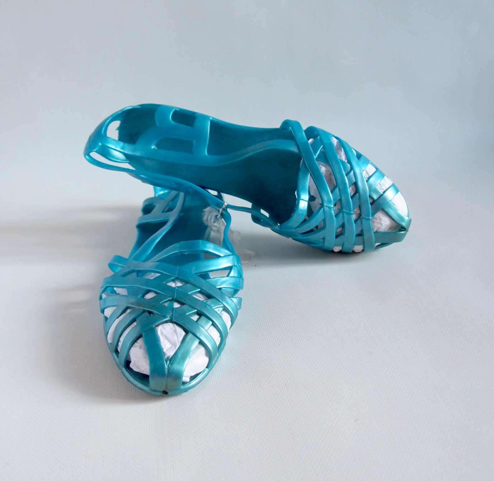 sky blue jelly ballets swimming pool shoes vintage girl's rubber flats blue jelly sandals summer shoes ussr 90s vintage ball