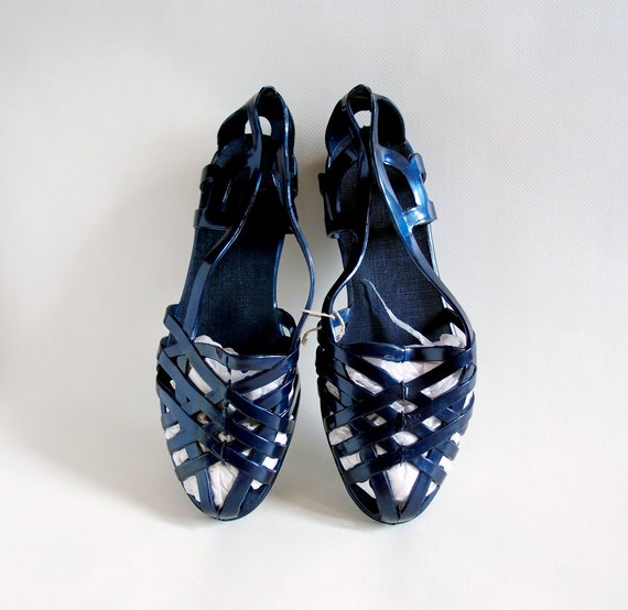 Vintage rubber shoes Navy blue jelly