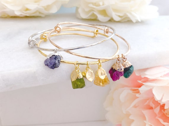 ready to ship Gift for Her Raw Stone Jewelry Unique Gift Personalized Gift Birthstone Jewelry Birthstone Bracelet for Mom Grandma Gift