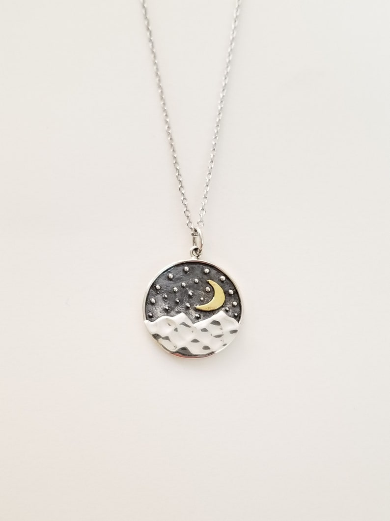 06d789595260c Mountain Necklace Moon Necklace Star Necklace Sterling Silver