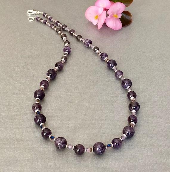 acheter pas cher lacer dans produits de qualité Améthyste collier perle améthyste collier violet perle collier pierres  précieuses perle collier améthyste bijoux violet février naissance cadeau  son