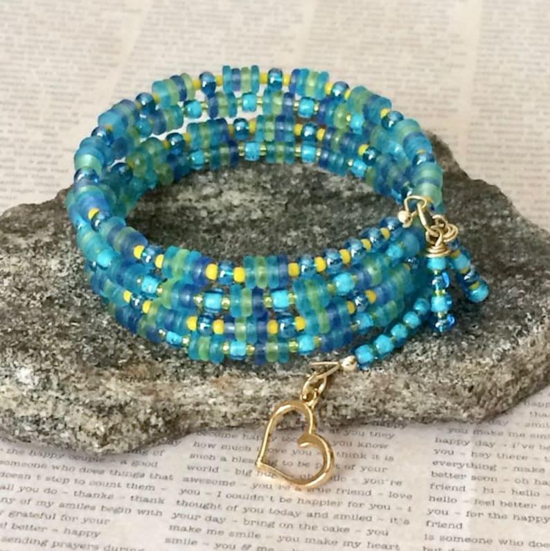 Aqua Memory Wire Bracelet Spiral Multi Wrap Bracelet Boho Statement Bracelet Colorful Bohemian Beaded Layered Bracelet Gypsy Beaded Bangle