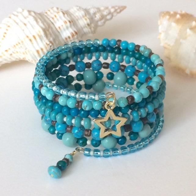 Turquoise Memory Bracelet Blue Wrap Spiral Bracelet Beaded   Etsy