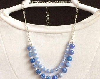 Blue Necklace Blue Agate Necklace Beaded Double Strand Blue Necklace Beaded Bib Necklace Layer Blue Bib Necklace Blue Bead Gemstone Necklace
