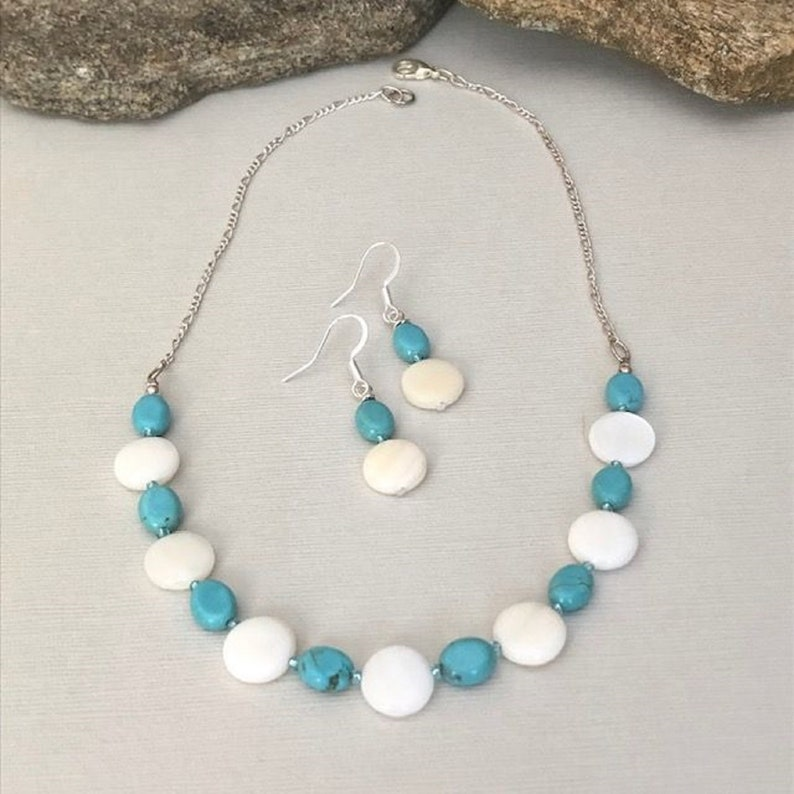 UK GIFT THREE LAYERS shell bead NECKLACE boho AQUA green blue turquoise summer