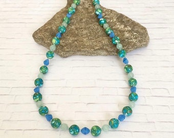 Summer Necklace Colorful Necklace Blue Green Necklace Blue Green Beaded Necklace Stone Necklace Single Strand Stone Beaded Necklace Gift Her