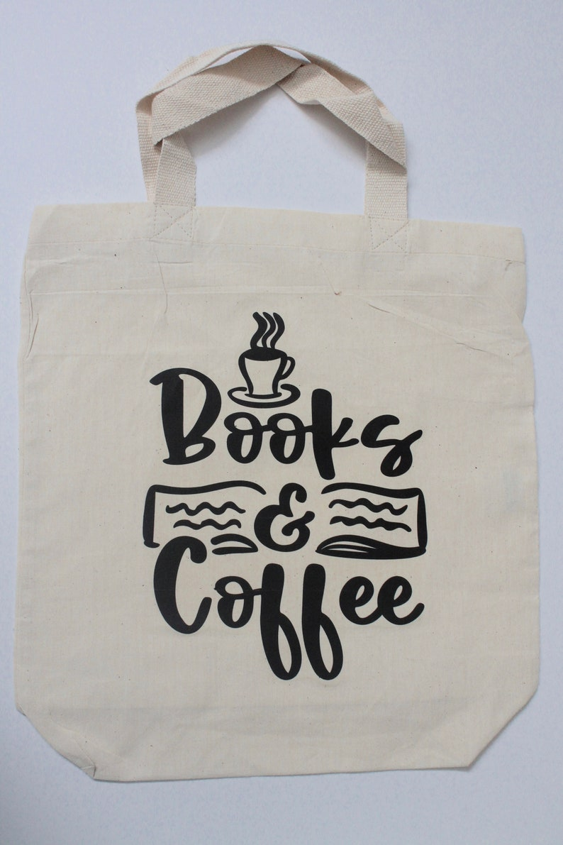 Tote bag printed handmade gifts books and wine 100/% cotton books and coffee