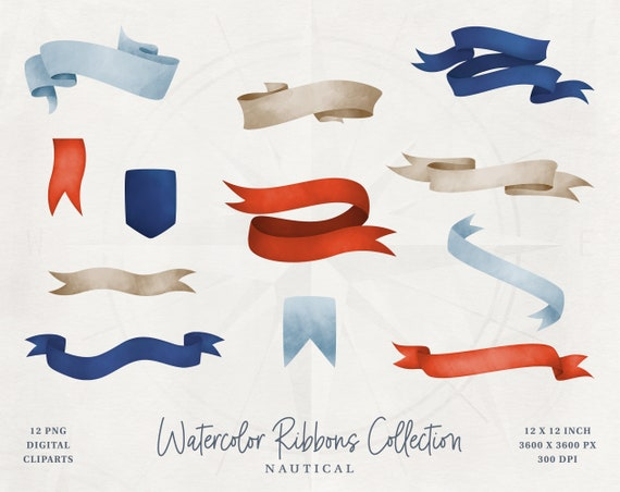 Instant Digital Download Watercolor Banners Clipart Ribbon Banners Clip Art 12 Hand Painted PNG Watercolor Graphics Commercial Use