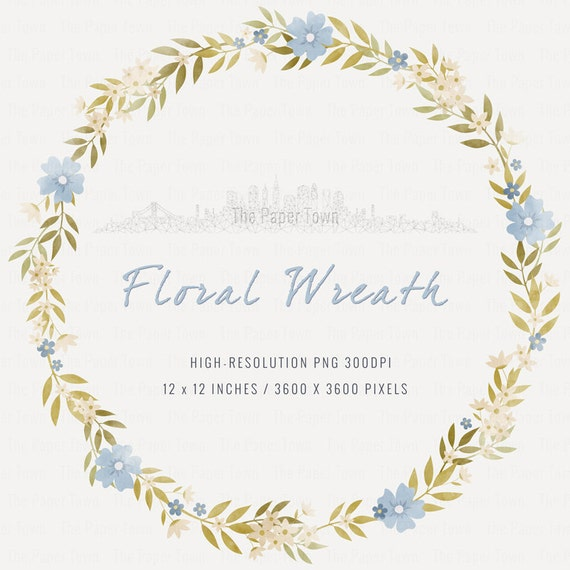 Blue Rustic Floral Wreath Clipart Wedding Flowers