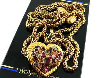 4da8f4fdbc7 YVES SAINT LAURENT * Goossens * Gorgeous and rare chain belt/necklace with jeweled  heart