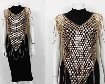2a8f465a0c5a1 PACO RABANNE Style   Top en Rhodoid Doré Circa 1970