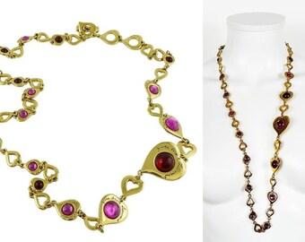 81fdeb7e218 YVES SAINT LAURENT * Vintage Glass Signature Heart Links Sautoir Necklace