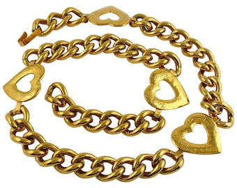 7c02017a0ad YVES SAINT LAURENT * Ysl * Vintage Gold Toned Heart Chain Belt Necklace