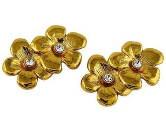 5ad4cea6419 YVES SAINT LAURENT * Ysl * Vintage Jewelled Floral Clip On Earrings