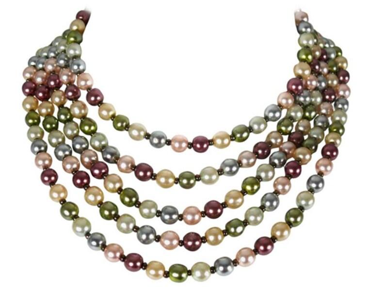 a0a2570fbde3 CHRISTIAN DIOR multicolor de collar 5 filas perlas fantasía