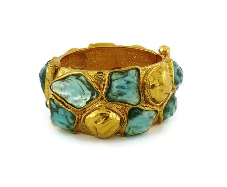 8ab244f6e90 YVES SAINT LAURENT Vintage Faux Gemstone Cuff Bracelet | Etsy