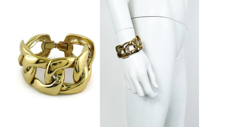 8b2634a92af YVES SAINT LAURENT Vintage Chunky Gold Toned Curb Chain image ...