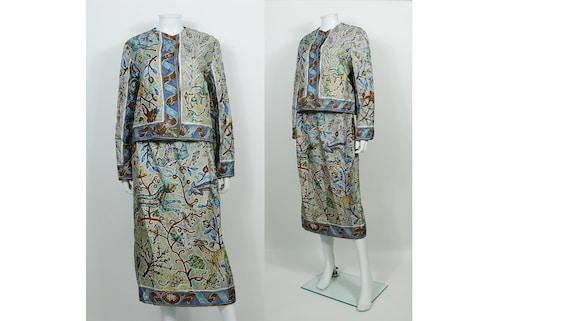 HERMES * Vintage Pavement Silk Print Jacket and Sk
