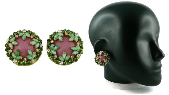 CHRISTIAN DIOR * Vintage Jewelled Clip-On Earrings
