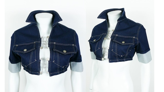 JEAN PAUL GAULTIER Vintage Denim and Safety Pin Crop Top  6faa15891
