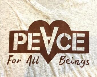 Peace Vegan shirts Ready to ship! Size M - L Vegetarian shirts Heart shirt Vegan gifts for vegans Gift for her Summer fashion Spring fashion