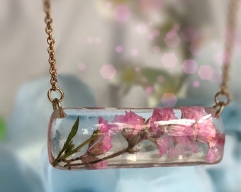 Horizontal rectangle bar flower pendant flower necklace Ready to ship! Mothers Day gift Vegan gifts gift for her Gift for wife