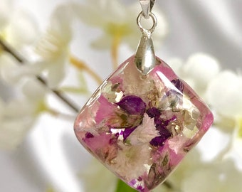Rhmbus diamond sparkly pendant Ready to ship! flower necklace Glittery petals necklace Custom jewelry Mothers Day gift for mom Gift for wife