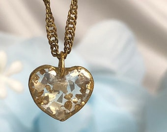 Resin heart necklace Ready to ship! Heart pendant Glitter glittery sparkle sparkly  Vegan Gifts for her Vegan jewelry gold flakes gold leaf