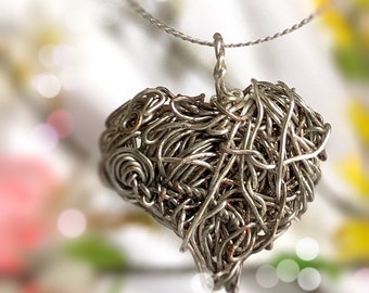 Tangled heart silver necklace Ready to ship! Mothers day gifts Mothers day gift ideas Heart necklaces Heart pendant necklace Gifts for mom