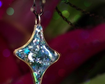 Star sparkly pendant Moon necklace Ready to ship! Glittery stars necklace Custom made jewelry Custom necklaces Vegan gifts for vegans gift